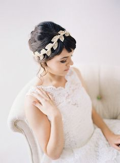 Beaded Leaf Champagne Bridal Headband by Januaryroseboutique