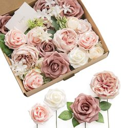 Ling's moment French Dusty Rose Artificial Wedding Flowers Combo for Wedding Bouquets Centerpieces Flower Arrangements Decorations (Garden Dusty Rose)