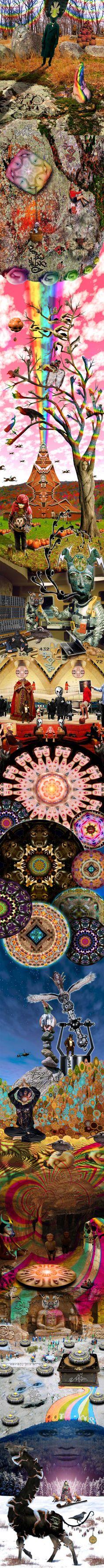 Larry Carlson - STRANGE HARVEST digital collage scroll artwork, 2008.