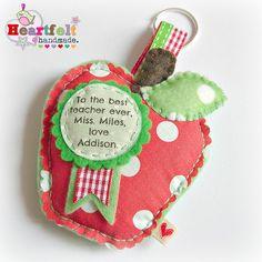 Teacher Appreciation/Thank You Gift - apple - key ring fob