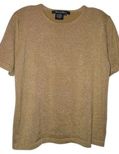 Patricktricot - Top Gold Metallic Short Sleeve Knit $28