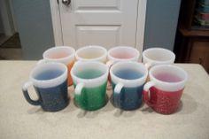 Vintage Fire King Glamalite Rubber Glitter Mugs - Set of 8
