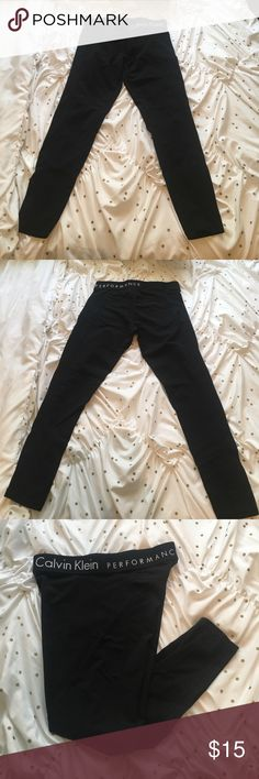 Calvin Klein Performance Leggings Black Calvin Klein Performance leggings. In EXCELLENT condition. Only worn once, I thought they were high waisted but they weren't. I'm 5'4 and they end right by my ankle. If you have any questions please don't hesitate to ask. Calvin Klein Pants Leggings