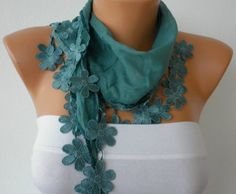 Almond Green Scarf Cotton Scarf Headband Woman by fatwoman on Etsy, $15.00