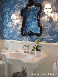 Blue chinoiserie wallpaper - Georgica Pond Interiors via decor pad