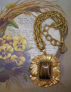 MIRIAM HASKELL Russian Gold Pendant Necklace & by CornermouseHouse