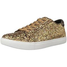 Remy18 Rose Gold Lace up Rock Glitter Fashion Sneaker w Elastic Tongue & White Outsole -9