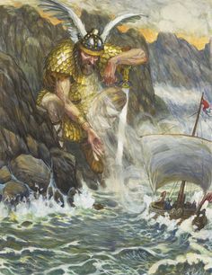 Njörðr is a god among the Vanir. Njörðr, father of the deities Freyr and Freyja by his unnamed Vanir sister, was in an ill-fated marriage with the goddess Skaði, lives in Nóatún and is associated with sea, seafaring, wind, fishing, wealth, and crop fertility.