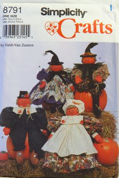"""Simplicity 8791 26"""" Stuffed Dolls and Clothes"""