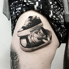 Converse All-star Shoe tattoo by at Samsara Custom Tattoo in Kendal Shoe Tattoos, Baby Tattoos, Flower Tattoos, Body Art Tattoos, Tatoos, Mago Tattoo, P Tattoo, Color Tattoo, Small Love Tattoos