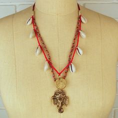 Ganesha good luck charm festival necklace with cowries #DIR69 #tribalfashion #gypsy #jewelry