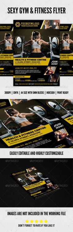 Sexy Fitness & Gym Flyer Design. Can be purchased as a template at a reasonable price.