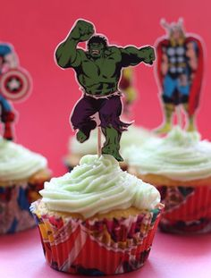 Mountain Dew cupcakes with Mountain Dew frosting. I might just have to make these when I go see the Avengers...