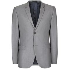TOPMAN Grey Skinny Fit Suit Jacket (95,655 KRW) ❤ liked on Polyvore featuring men's fashion, men's clothing, grey and topman