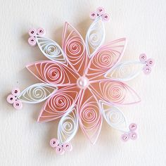 6 point pale pink and white quilled snowflake with pink pearl | by redflameuk