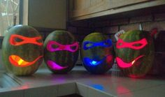 Use glow sticks in your Halloween pumpkins instead of candles -- or make these glowing ninja turtles out of Cool Glow Stick Ideas Ninja Turtle Pumpkin, Ninja Turtle Party, Ninja Turtles, Teenage Turtles, Turtle Birthday, 5th Birthday, Fall Birthday, Birthday Cakes, Birthday Ideas