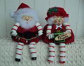 Santa & Mrs Claus Button Dolls