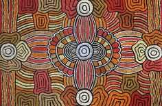 THE ARTERY Aboriginal Art - In 'Women's Body Paint', the large concentric circles represent the ceremonial sites where the women engage in women's business, such as 'painting up' for ceremony. This involves women applying natural pigments to their bodies. The arc-like adjoining lines are representative of the 'Song lines' that connect the two ceremonial sites. 'Song Lines' are the travel lines - as the women journey from sacred site to sacred site they sing the ceremonial songs relevant to…