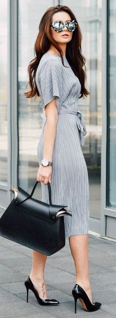 #streetstyle #casualoutfits #spring | Light Grey Midi Dress + Pop Of Black…