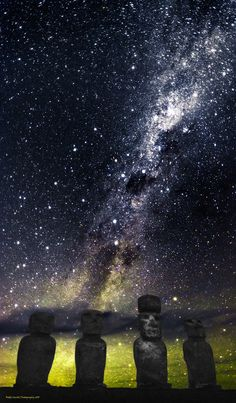 """Named """"Eternal"""", this is an image of the Ahu Tongariki under the Milky Way on La Isla de Pascua (Easter Island or Rapa Nui) in the middle of the South Pacific Ocean taken about 2 hours before sunrise."""