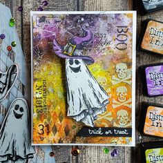 Kulbir Kirkland 🇨🇦 (@luv2papercraft) • Instagram photos and videos Halloween Doodle, Halloween Tags, Halloween Projects, Fall Halloween, Paper Halloween, Halloween Ideas, Tim Holtz Stamps, Stampers Anonymous, Heart Cards