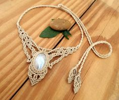 Rainbow Moonstone macrame necklace macrame stone by SelinofosArt