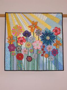 Whimsical Garden 4 wall quilt from Etsy seller tinacurran