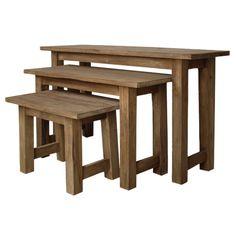 3er Set Massivholz Teak natur Hocker Fußhocker Sitzhocker Massiv Sitz Holzhocker | New! | Maison ESTO | Ihr großer Möbel Online-Shop