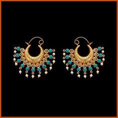 Aqua Blue and White Beaded Brass Base Earring (costume jewelry)