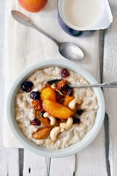 Apricot Porridge with Honey and Poached Fruit