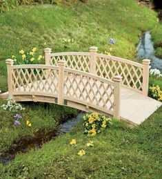 4'L Wooden Garden Foot Bridge With Latticework Sides | Collection Accessories