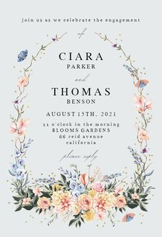 Spring Dusty Frame - Engagement Party Invitation #invitations #printable #diy #template #Engagement #party #wedding Engagement Party Invitations, Party Wedding, Wedding Engagement, Bloom, Printable, Templates, Island, Spring, Frame