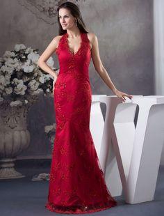 Burgundy Halter Neck Mermaid Lace Floor Length Evening Dress
