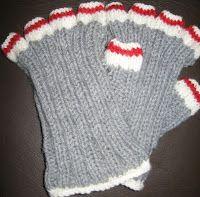 My Knitting Basket: Sock Monkey Fingers Popped Out (wrist warmers)