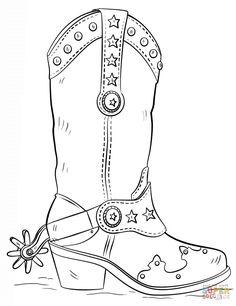 Hand Gezeichnete Skizze Eines Cowboy Stiefel Stock