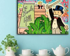 Monopoly, Office Decor, Etsy Seller, Canvas, Frame, Creative, Handmade Gifts, Prints, Platform