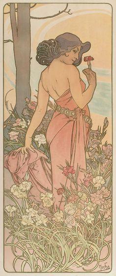 Carnation ALPHONSE MUCHA (Czechoslovakian, 1860-1939)Les Fleurs (Rennert, Weill, 49, Var 1), circa 1898 Color lithographs