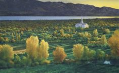 This painting artfully portrays the majestic Mt. Timpanogos Temple amid a breathtaking Utah sunset mirrored in Utah Lake and a splendid mountain backdrop. Utah Temples, Lds Temples, Utah Lake, Watercolor Sunset, House Goals, Sunsets, Backdrops, Mountain, Fine Art