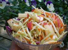 Weight Watchers Apple Cole Slaw (1-Point) from Food.com: 8 servings --- 1/2 cup = 1 point --- cooking time is 2 hours chilling time.