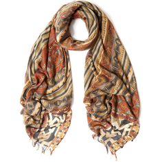 Etro Orange Stripe Mix Cashmere-Blend Scarf ($475) ❤ liked on Polyvore featuring accessories, scarves, striped scarves, tribal scarves, tribal print scarves, orange scarves and patterned scarves