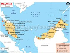 Map showing the major international and domestic airports in Malaysia. Kuala Lumpur International Airport is the largest airport of the country, handling maximum passenger traffic. Weird Looking Animals, Madagascar Travel, Kota Kinabalu, Labuan, Country Maps, International Airport, Kuala Lumpur, Philippines, Vietnam