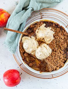 This Apple Miso Crumble is such a great winter comfort food dessert and pairs perfectly with the homemade No Churn Salted Caramel Ice Cream. Winter Desserts, Easy Desserts, Dessert Recipes, Salted Caramel Ice Cream, Cooked Apples, Crumble Topping, Fall Recipes, Simple Recipes, Food To Make