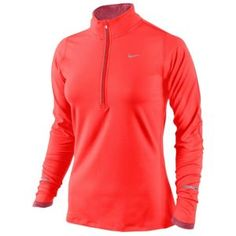 Nike Element Dri-Fit Running Top - Women's - Running - Clothing - Bright Crimson/Pink Clay/Reflective Silver