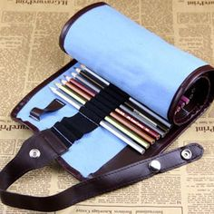 School Painting Stationery Roll Pencil Case Canvas Curtain Sketch Pens Bag Brush Kits Rolling Holders Blue 04811