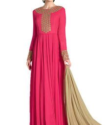 pink embroidery georgette unstitched salwar with dupatta