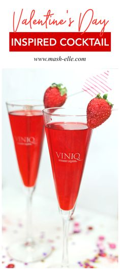 The perfect cocktail for Valentine's Day! If you're looking for a strawberry sweet refreshment you'll love this recipe!