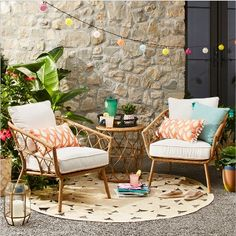 Sit back and relax in the fresh air on the Britanna Club Chair from Opalhouse. Patio Seating, Patio Chairs, Wicker Side Table, Wood Patio, Backyard Patio, Patio Bar, Patio Interior, Patio Furniture Sets, Rattan Furniture
