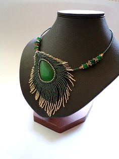 Green Necklace, Teardrop stone pendant, Cat eye Embroidery Peacock feather Necklace