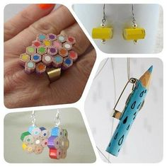 Creative Jewelry, Pencils, and Diy image ideas & inspiration on Designspiration Recycled Jewelry, Resin Jewelry, Jewelry Crafts, Pencil Crafts, Pencil Art, Homemade Jewelry, Bijoux Diy, Beads And Wire, Diy And Crafts