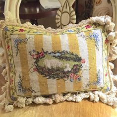 Vintage Needlepoint Wool Pillow with Lamb by SouthernLadyEstates Cottage Farmhouse, French Country Cottage, Country Charm, Farmhouse Decor, Needlepoint Pillows, Wool Pillows, Pillow Ideas, Pillow Forms, Home Decor Styles